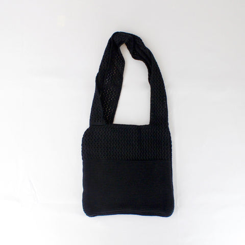 BLACK FISHNET KNITTED BAG - svnx
