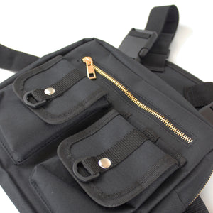 BLACK HARNESS CHEST BAG - svnx