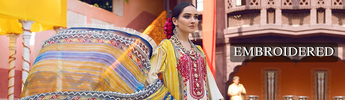 Unstitched Embroidered Shirt with Dupatta - Warda