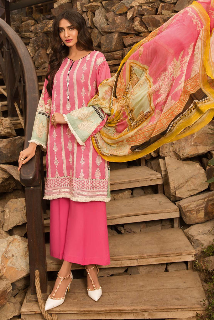 Warda Designer Collection - 3PC Chiffon Lawn Chikan Kari 3820293