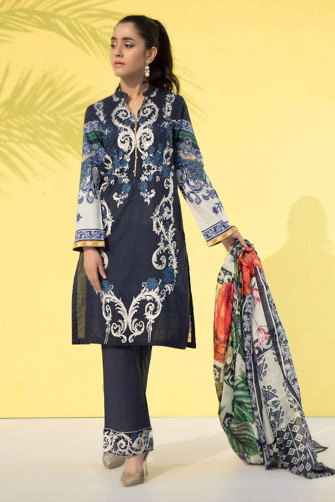 3PC Print Embroidery With Silk Dupatta LS19271