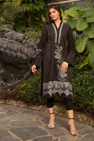 Warda Designer Collection - 3PC Chikan Kari with Patch Work 3820508