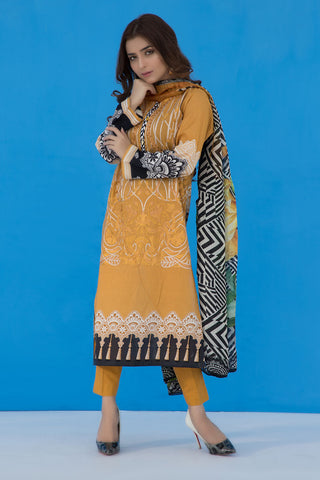 3PC Print Embroidery With Silk Dupatta LS19270