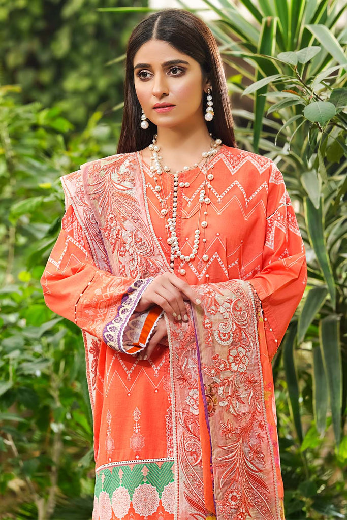 Warda Designer Collection - 3PC Lawn with Printed Dupatta (With Emb) With Chiffon 3820514