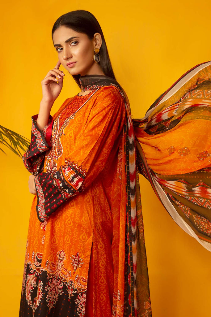 Warda Designer Collection - 3PC Chiffon Lawn Embroidery  3820242