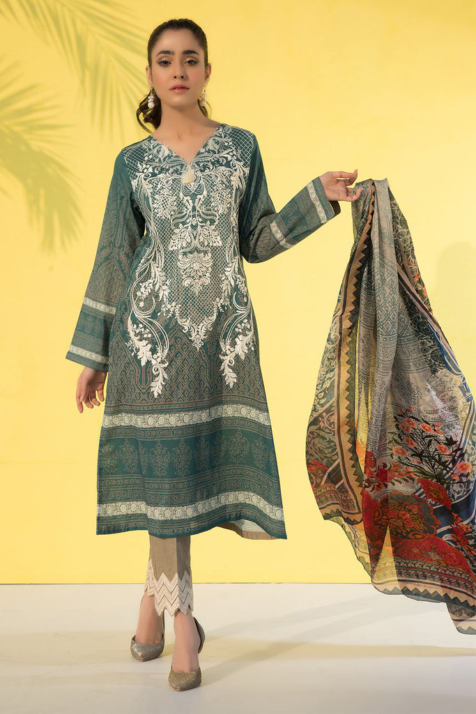 3PC Print Embroidery With Silk Dupatta LS19278