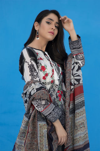 3PC Print Embroidery With Silk Dupatta LS19273
