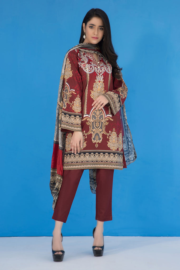3PC Print Embroidery With Silk Dupatta LS19274