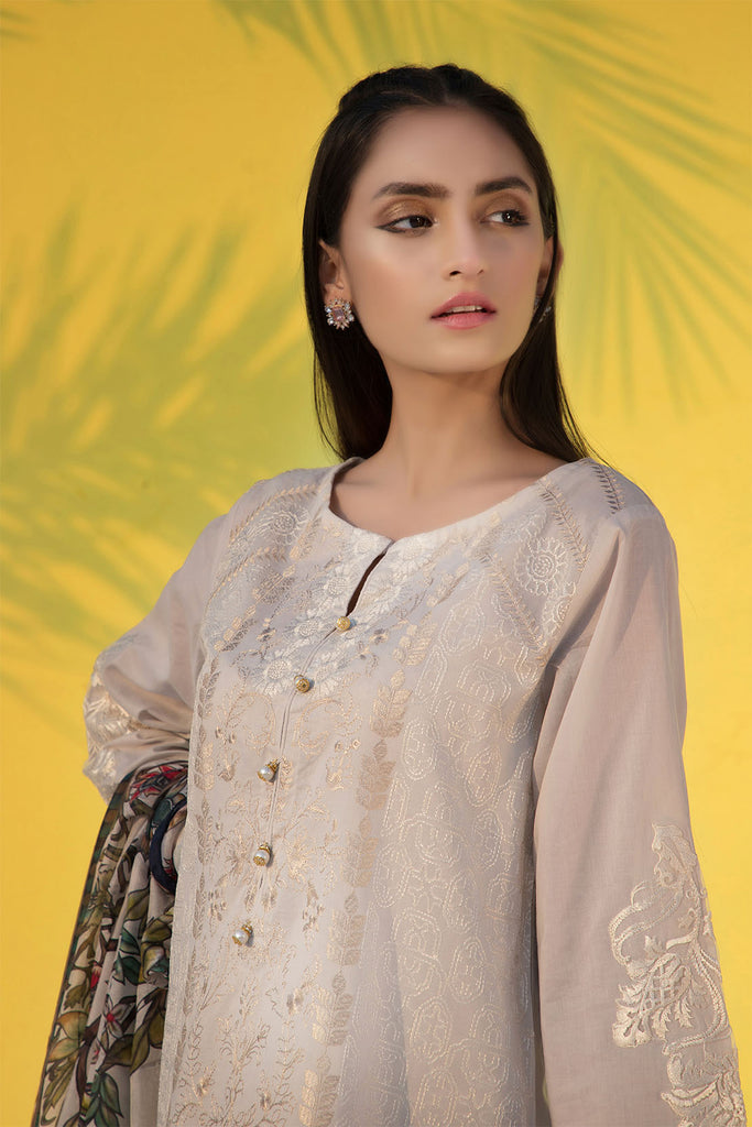 3PC Print Embroidery With Silk Dupatta LS19275