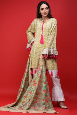 Warda Designer Collection - 2PC Lawn Print 2558087
