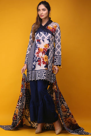 Warda Designer Collection - 3PC Lawn Print 3817338