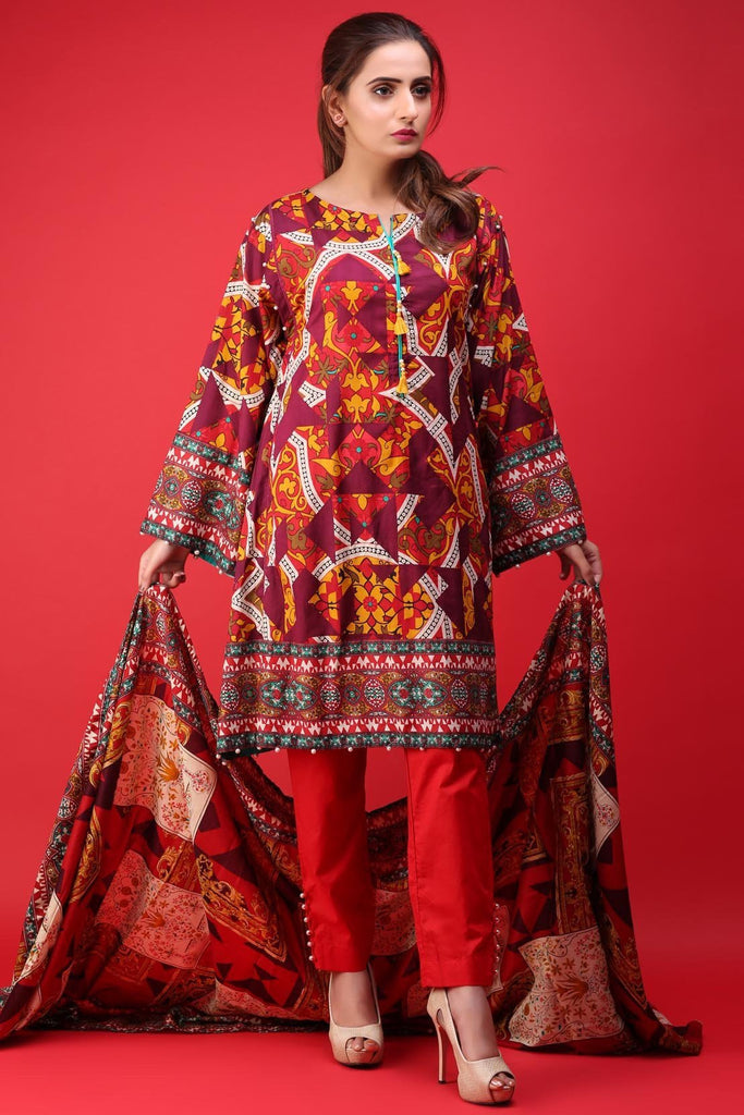Warda Designer Collection - 3PC Lawn Print 3818159