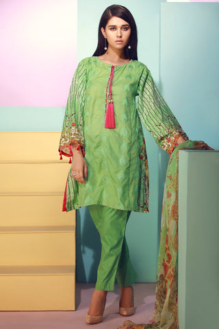 Warda Designer Collection - 3PC Lawn Chikan Kari Fusion 3818298