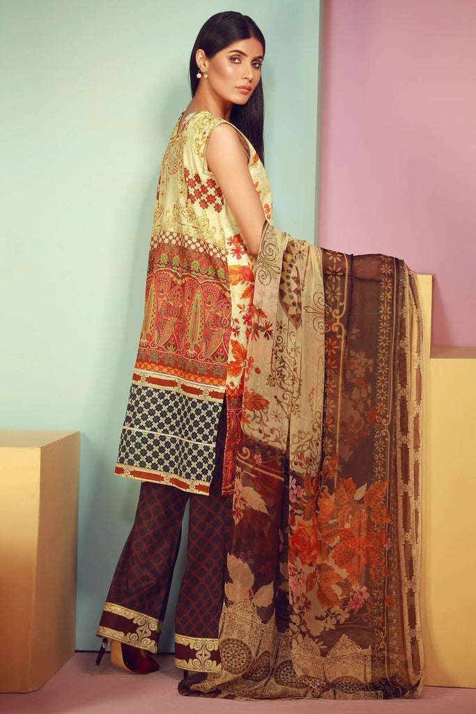 Warda Designer Collection - 3PC Lawn Digital Chikan Kari with Chiffon Dopatta 3818145