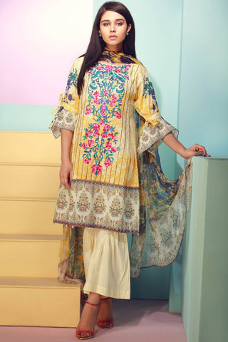 Warda Designer Collection - 3PC Lawn Kashmiri Embroidery with Chiffon Dupatta 3818153