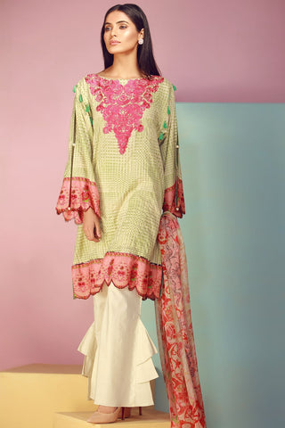 Warda Designer Collection - 3PC Lawn Kashmiri Embroidery with Chiffon Dupatta 3817598