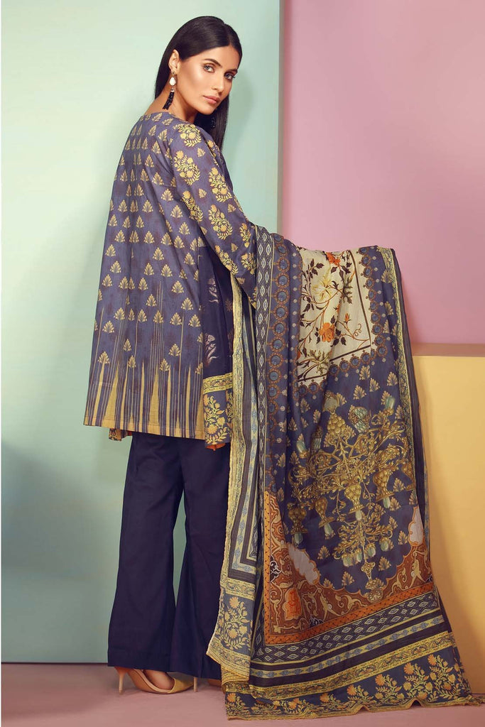 Warda Designer Collection - 3PC Jacquard with Digital Lawn Dupatta 3818083