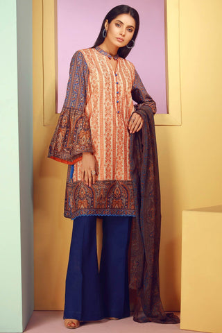 Warda Designer Collection - 3PC Lawn Chikan Kari with Chiffon Dopatta 3818002