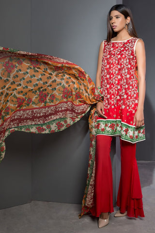 Warda Designer Collection - 3PC Lawn Chikan Kari with Chiffon Dopatta 3818004