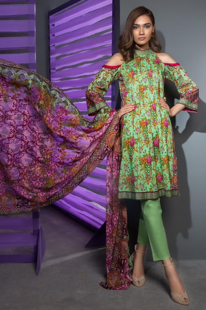 Warda Designer Collection - 3PC Lawn Print with Net Dopatta 3818220