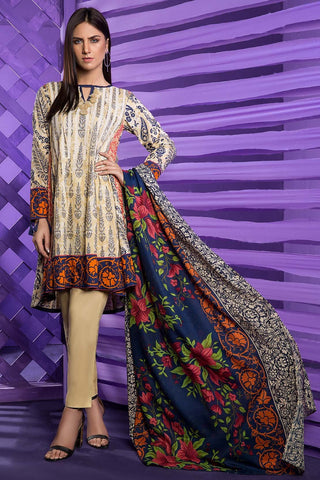 Warda Designer Collection - 3PC Lawn Print with Net Dopatta 3818221