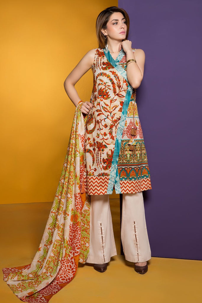 Warda Designer Collection - 3PC Lawn Print 3818232