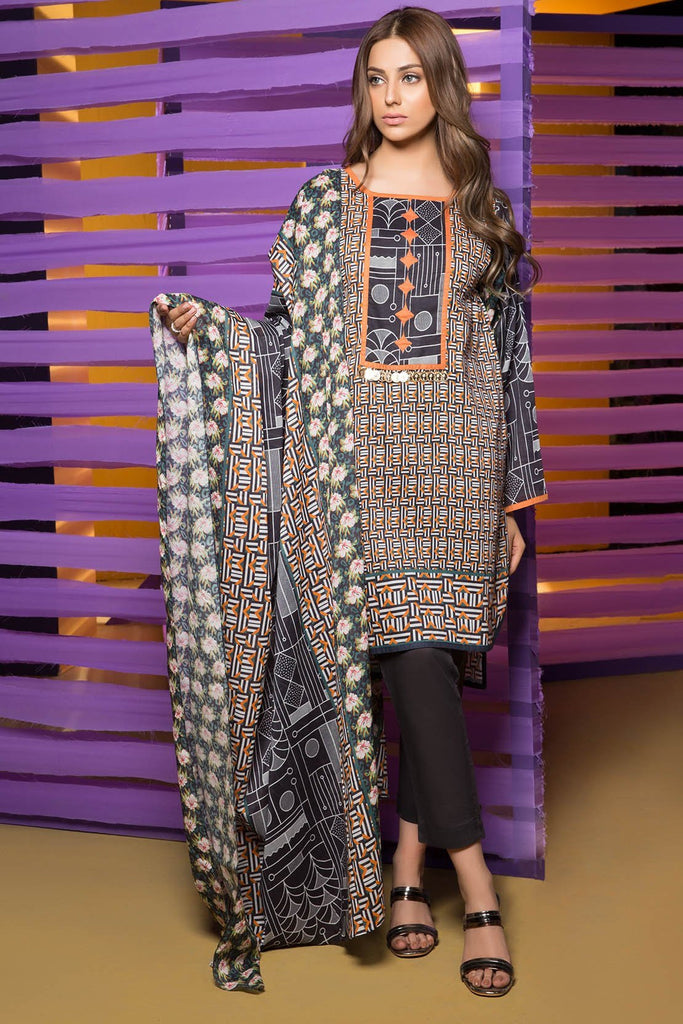 Warda Designer Collection - 3PC Lawn Print 3818274