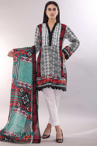 Warda Designer Collection - 3PC Lawn Print 3818425