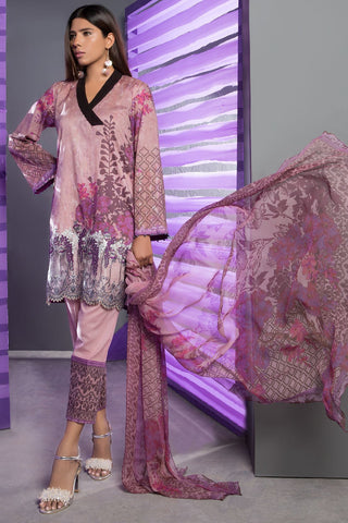 Warda Designer Collection - 3PC Embroidered Lawn with Chiffon Dupatta 3818396