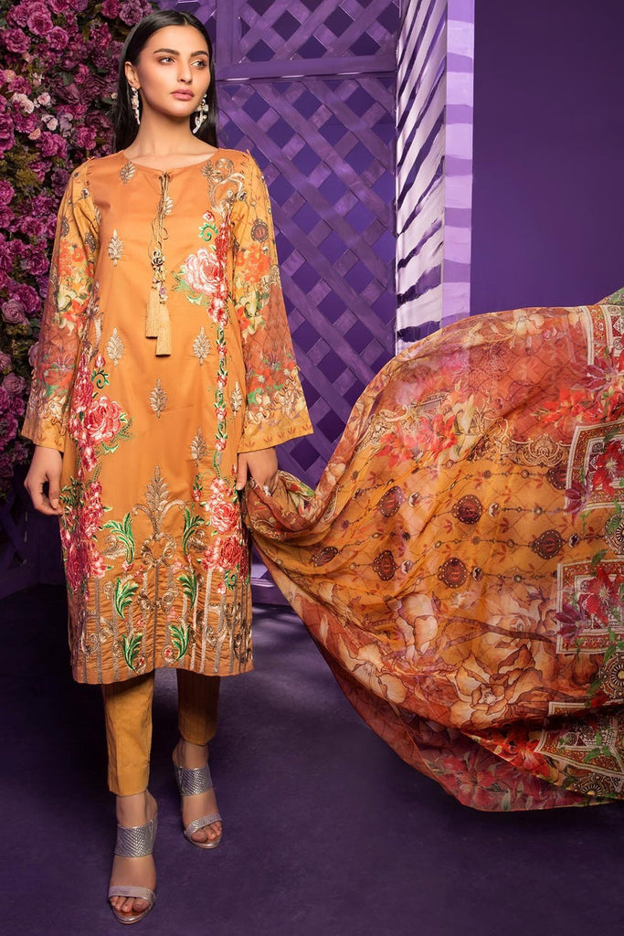 Warda Designer Collection - 3PC Embroidered Lawn with Chiffon Dupatta 3818337
