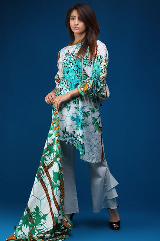 Warda Designer Collection - 3PC Lawn Print with Net Dopatta 3818094