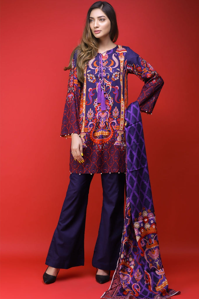 Warda Designer Collection - 3PC Lawn Print with Net Dopatta 3818095