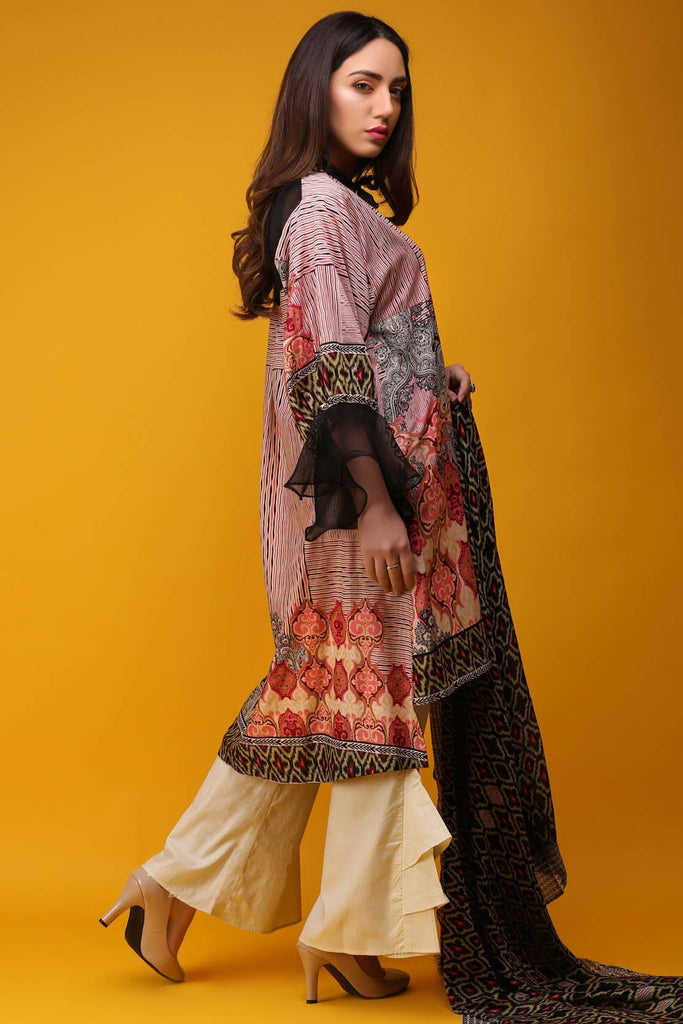 Warda Designer Collection - 3PC Lawn Print with Net Dopatta 3818097