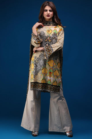 Warda Designer Collection - 3PC Lawn Print with Net Dopatta 3818098