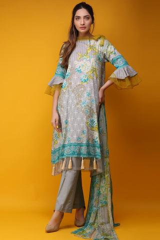 Warda Designer Collection - 3PC Chiffon Lawn Print 3817587