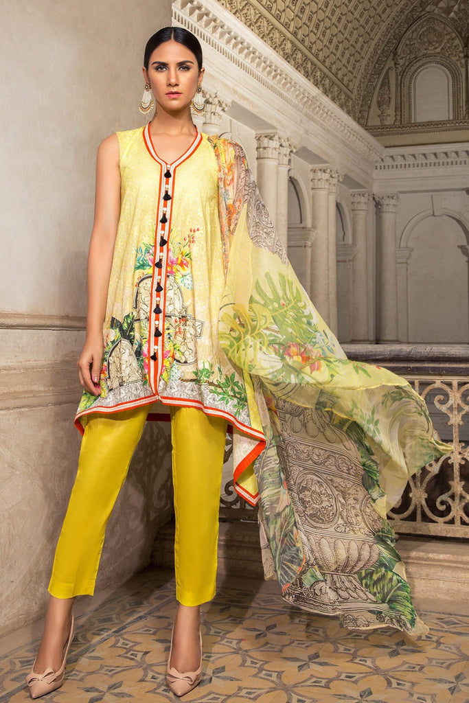 Warda Designer Collection - 3PC Lawn Digital Chikan Kari with Bamber Dopatta 3818353
