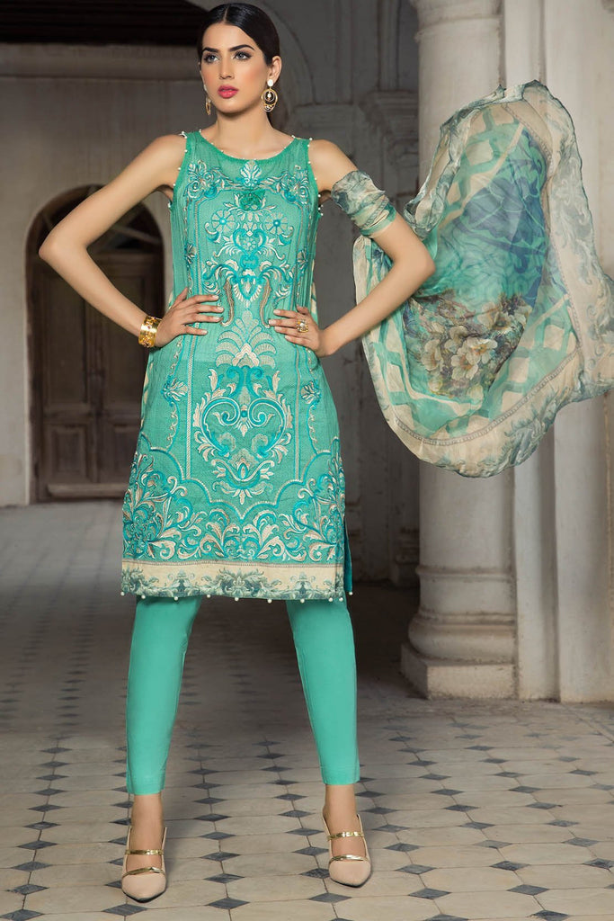 Warda Designer Collection - 3PC Lawn Kashmiri Embroidery with Bamber Dupatta 3818376