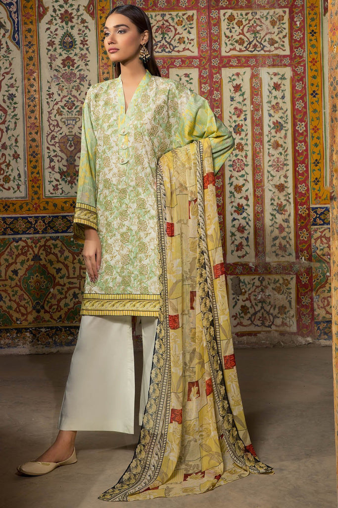 Warda Designer Collection - 3PC Lawn Chikan Kari with Chiffon Dupatta 3818304