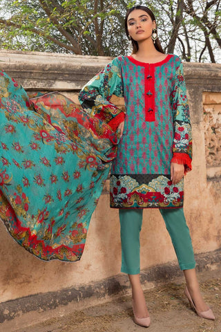 Warda Designer Collection - 3PC Lawn Chikan Kari with Chiffon Dupatta 3818301