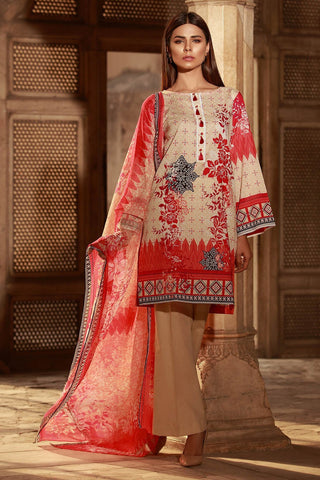 3PC Chiffon Lawn Print 3817094 - Unstitched - Warda Designer Collection