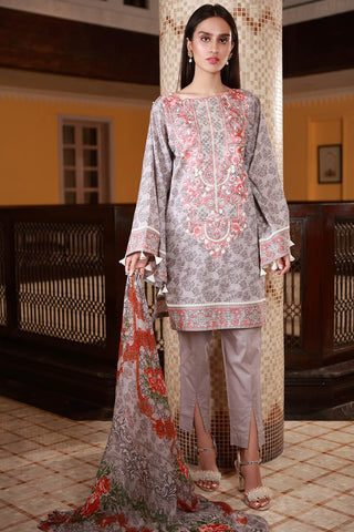 Warda Designer Collection - 2PC Lawn Embroidery with Chiffon Dupatta 2558312