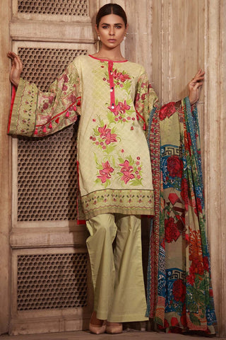 Warda Designer Collection - 3PC Lawn Embroidery with Chiffon Dupatta 3818310