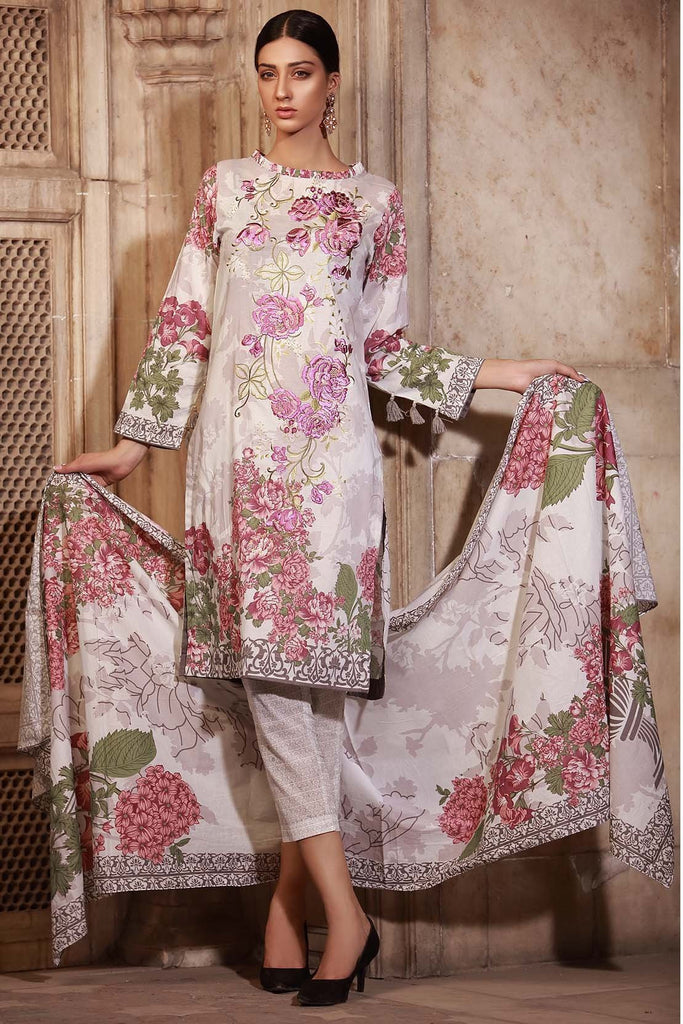 Warda Designer Collection - 3PC Lawn Embroidery 3818466