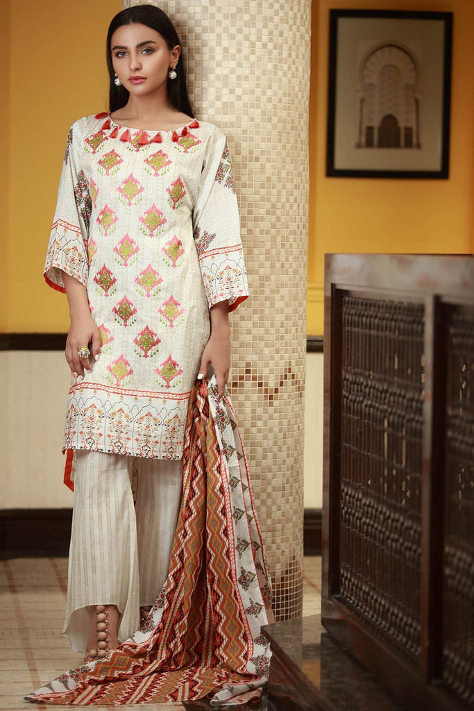 Warda Designer Collection - 3PC Lawn Embroidery 3818422