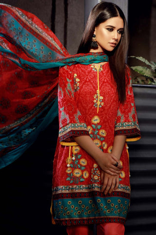 Warda Designer Collection - 3PC Chiffon Lawn Embroidery LS18015