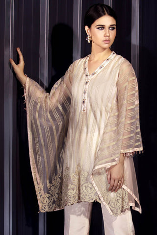 Warda Designer Collection - Stitched Net Embroided Shirt LPS1811