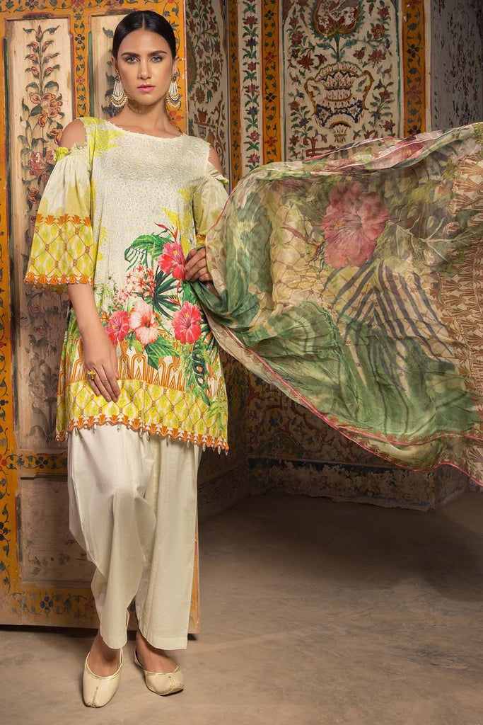 Warda Designer Collection - 3PC Lawn Digital Chikan Kari with Bamber Dopatta 3818238
