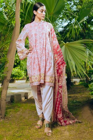 Warda Designer Collection - 3PC Lawn Chikan Kari with Chiffon Dupatta 3818575