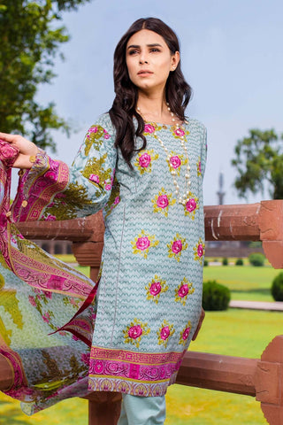 Warda Designer Collection - 3PC Lawn Embroidery with Chiffon Dupatta 3818330