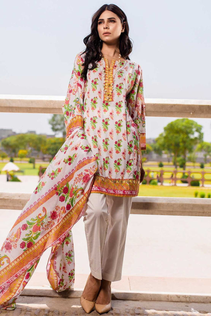 Warda Designer Collection - 3PC Lawn Print 3818537